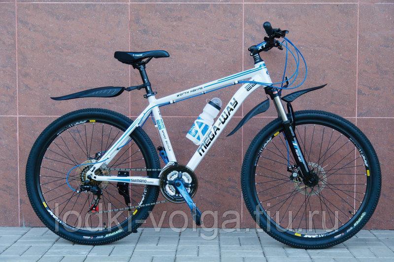 Велосипед MEGA-WAY MEGA26002 AL 27SP (алюминий, 27 скор.) (бело/синий)