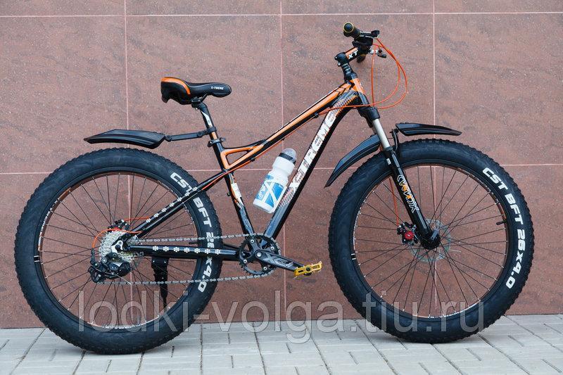 """Велосипед FATBIKE FAT26AL8SP (алюминий, 8 скор., ACERA, 17"""" рама) (черно/оранжевый)"""