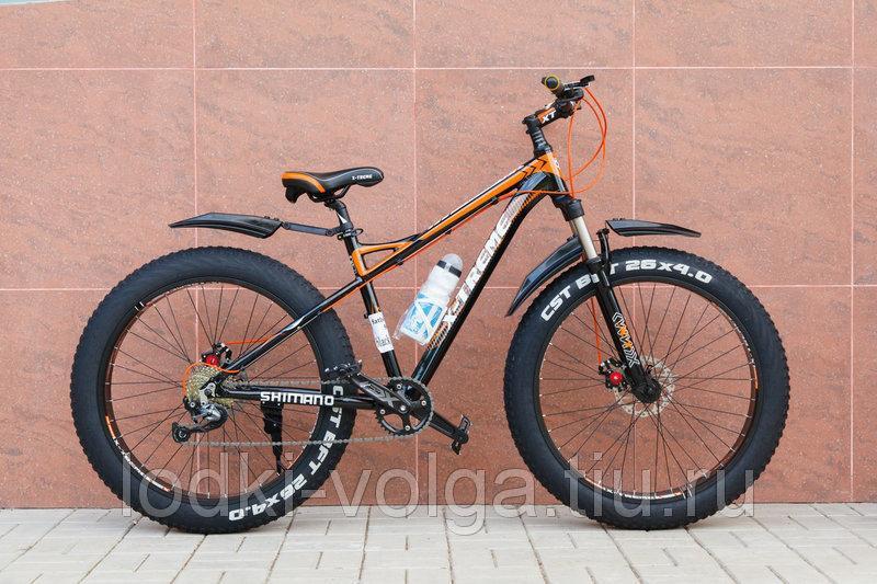 Велосипед FATBIKE FAT26AL9SP (черно/оранжевый) 9 скоростей