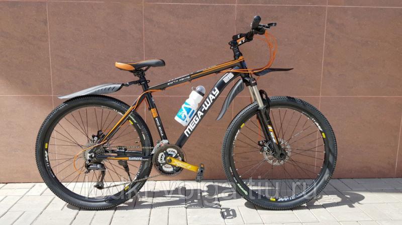 Велосипед MEGA-WAY MEGA26002 AL 27SP (алюминий, 27 скор.) (черно/оранжевый)