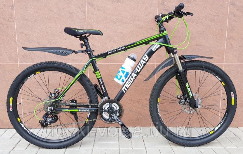 Велосипед MEGA-WAY MEGA26003 AL 24 SP (алюминий, 24 скор.) (черно/зеленый)