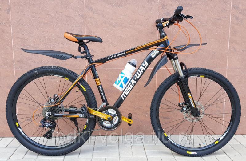 Велосипед MEGA-WAY MEGA26003 AL 24 SP (алюминий, 24 скор.) (черно/оранжевый)