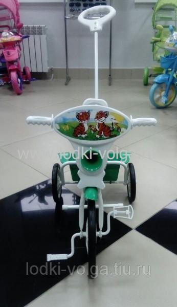 Велосипед МАЛЫШ 3-х колесный с кузовом, со спинкой, с управляющей ручкой