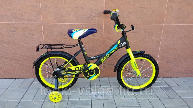 Велосипед BlackAqua 1605 (со светящимися колесиками, черно-лимонный)
