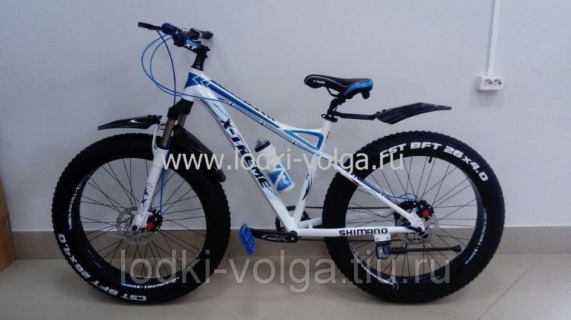 Велосипед FATBIKE FAT26AL (бело/синий) 24 скорости