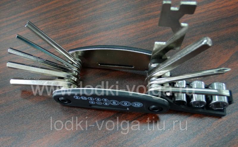 Набор ключей складной 12 шт (шестигранники, отвёртка крест/шлиц, головки, ключ семейный) (195-031)