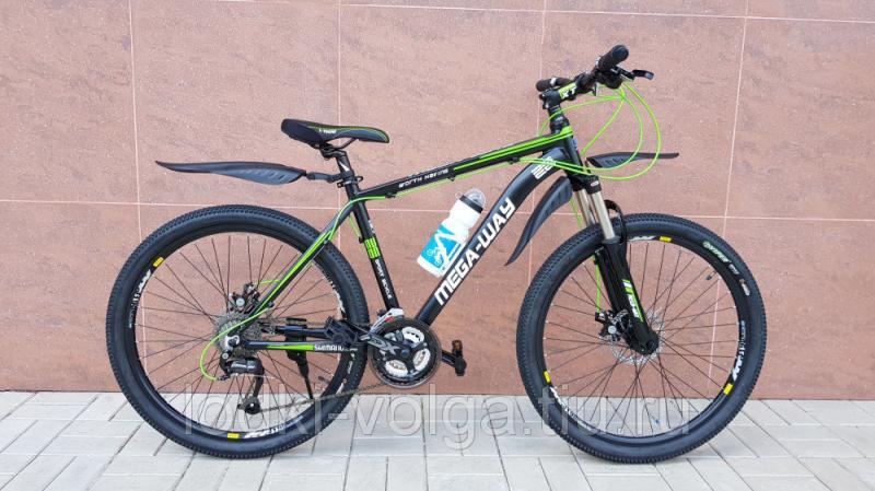 Велосипед MEGA-WAY MEGA26002 AL 27SP (алюминий, 27 скор.) (черно/зеленый)