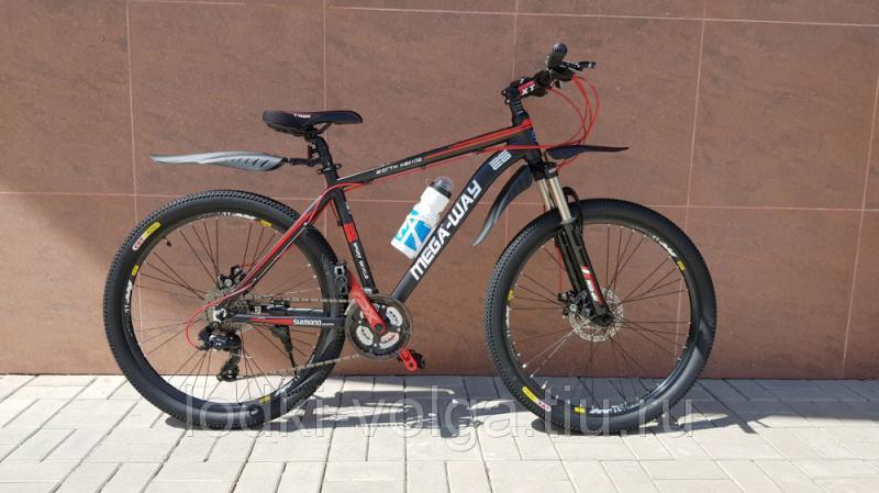 Велосипед MEGA-WAY MEGA26003 AL 24 SP (алюминий, 24 скор.) (черно/красный)