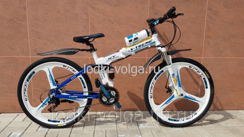 Велосипед X-TREME XT-26 FDMW AL (алюминиевый,складной,литой диск, 21 скорость) бело/синий
