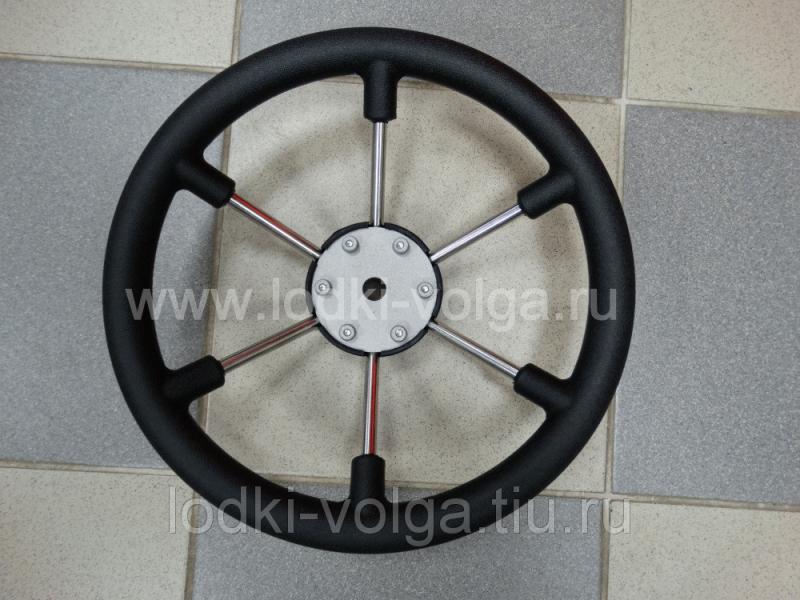 Колесо рулевое LEADER PLAST черный обод серебряные спицы d 330 мм