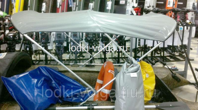 Тент-крыша для лодки 390 -420 ширина 130 см. длина тента 200 см. (3 дуги)