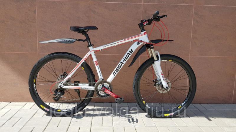 Велосипед MEGA-WAY MEGA26003 AL 24 SP (алюминий, 24 скор.) (бело/красный)