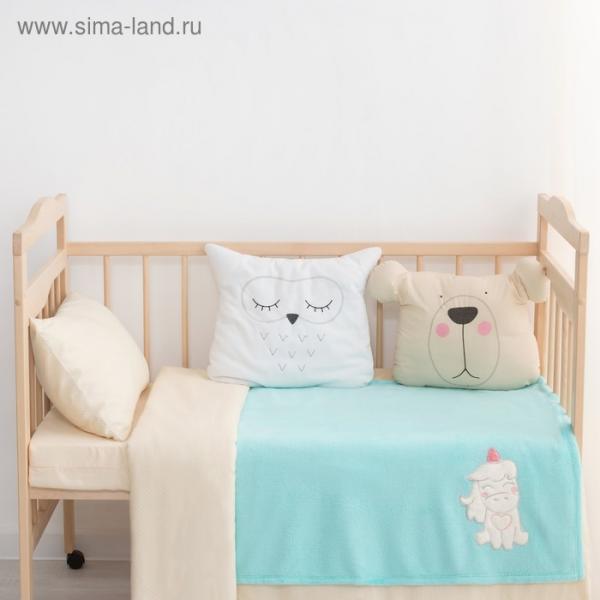 """Одеяло-плед с вышивкой """"Крошка Я"""" Единорог, 90 х 100 см, велсофт"""