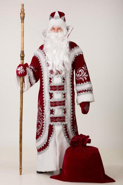 Карнавальный костюм Дед Мороз Купеческий Бордовый