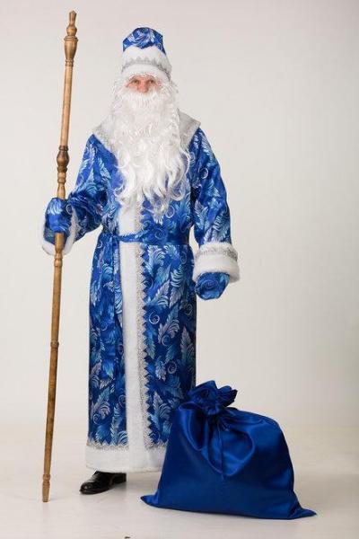 Карнавальный костюм Дед Мороз сатин принт синий взрослый