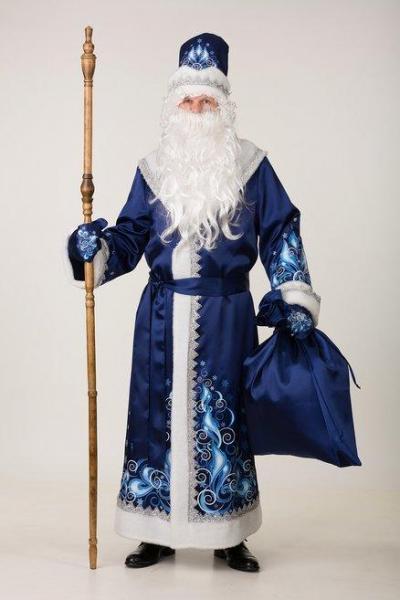Карнавальный костюм Дед Мороз сатин синий Сказочная страна  взрослый