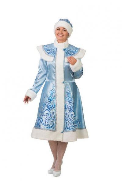 Карнавальный костюм Снегурочка взрослый сатин аппликация