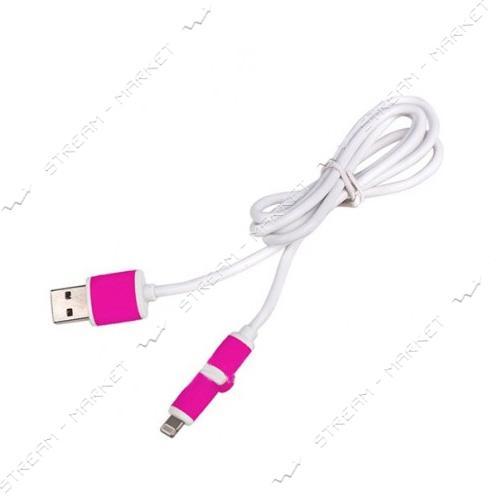 Кабель PULSO USB - Micro USB/Apple 1m pink (круглый)