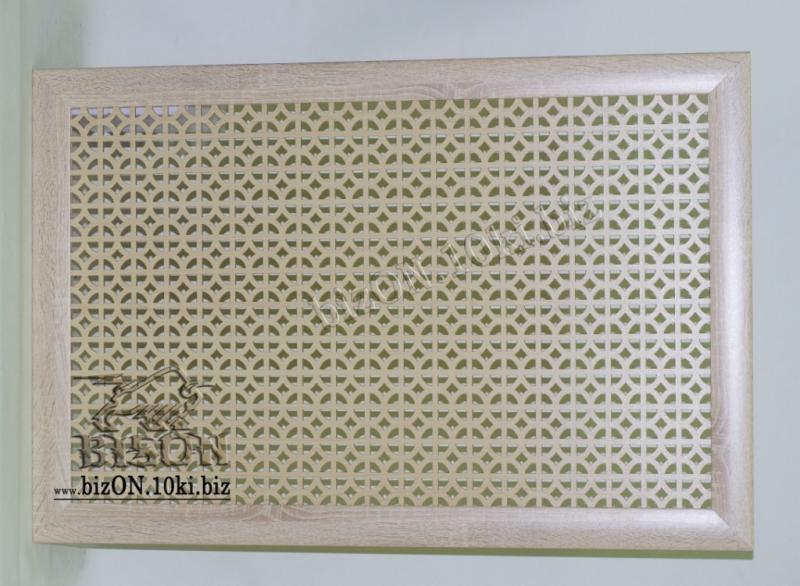 Фото Решетки ПВХ и Экраны ХДФ (МДФ) для радиаторов отопления и декора Декоративный экран на батареи «АЛЬФА», 900 х 600 мм, из перфорированного ХДФ (МДФ), цвет – Санома Дуб (светлое дерево)