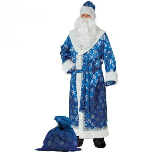 Карнавальный костюм  Дед Мороз синий сатин взрослый