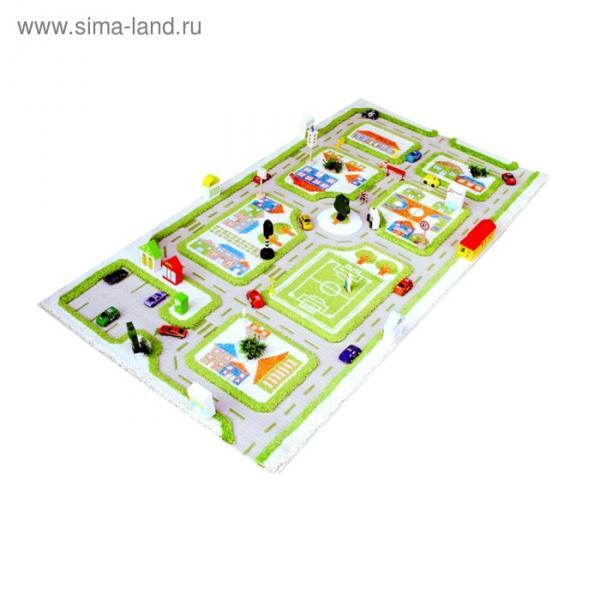 """Ковёр игровой """"Трафик"""", размер 80х150 см, цвет зелёный"""
