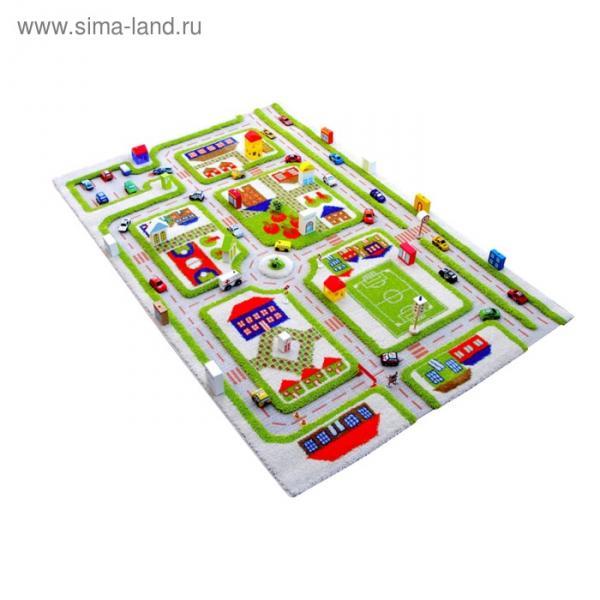 """Ковёр игровой """"Трафик"""", размер 134х180 см, цвет зелёный"""