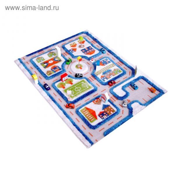 """Ковёр игровой """"Трафик"""", размер 80х100 см, цвет голубой"""