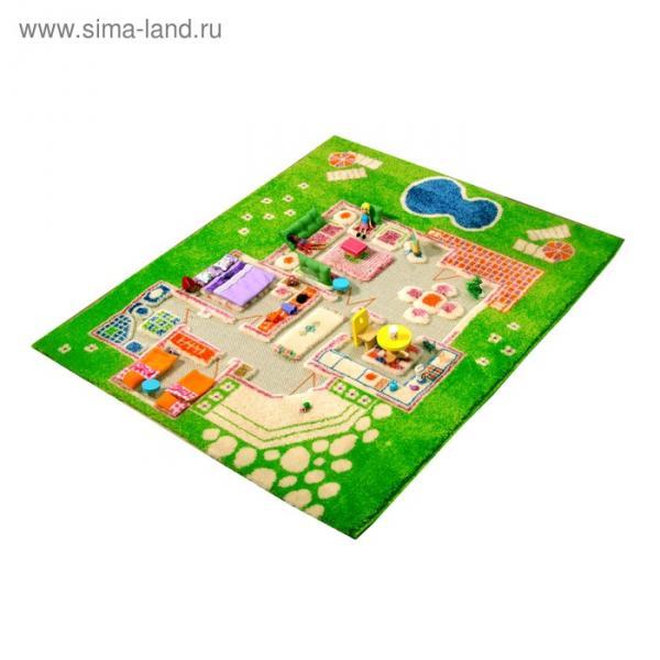 """Ковёр игровой """"Домик"""", размер 80х100 см, цвет зелёный"""