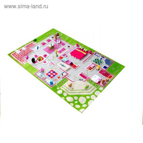 """Ковёр игровой """"Домик"""", размер 100х150 см, цвет зелёный"""