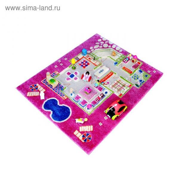 """Ковёр игровой """"Домик"""", размер 80х100 см, цвет розовый"""