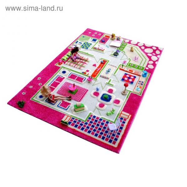 """Ковёр игровой """"Домик"""", размер 100х150 см, цвет розовый"""