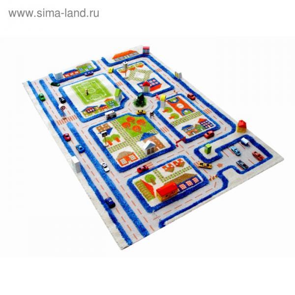 """Ковёр игровой """"Трафик"""", размер 100х150 см, цвет голубой"""