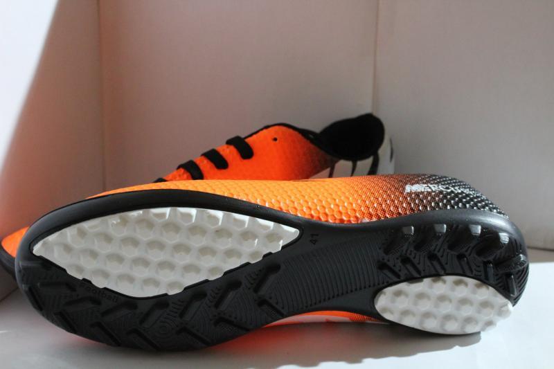 Футбольные кроссовки(копы) Nike Mercurial сороконожки синие на шнуровке для игры в футбол на шнурке оранжевые Оранжевый, 41, 40