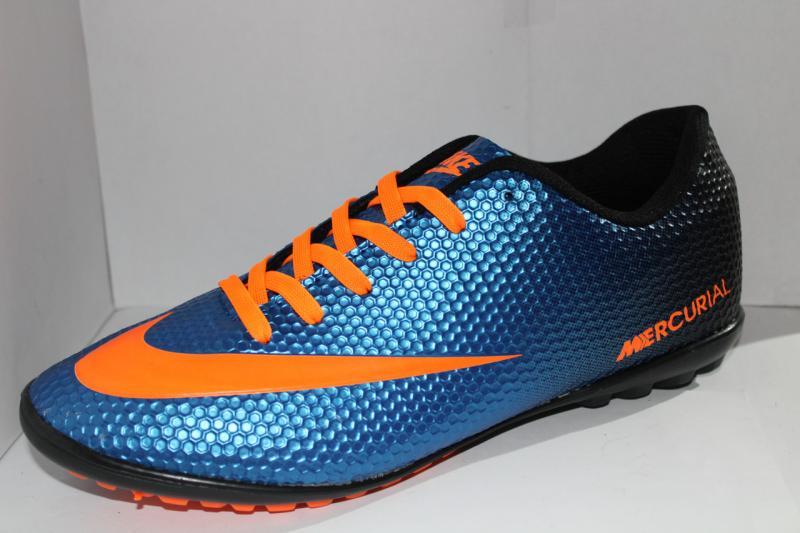 Футбольные кроссовки(копы) Nike Mercurial сороконожки синие на шнуровке для игры в футбол на шнурке синие