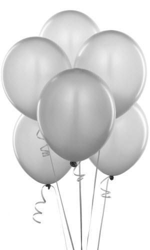 """Воздушный шар металлик 12""""/30 см (10 шт.) №7-белый"""