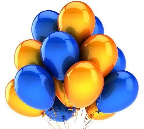"""Воздушный шар металлик 16""""/40 см (синий, желтый 100 шт.) №2"""
