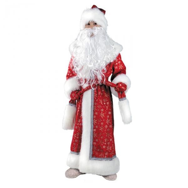 Карнавальный костюм Дед Мороз красный плюш детский