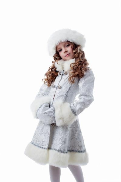 Карнавальный костюм Снегурочка плюш белая детский