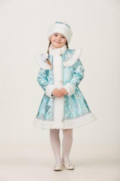 Карнавальный костюм Снегурочка Гжель сатин детский