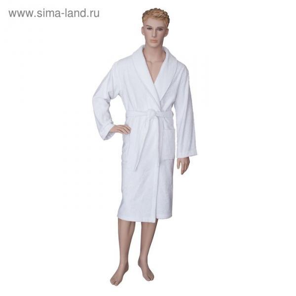 Халат мужской, шалька, размер 56, белый, махра