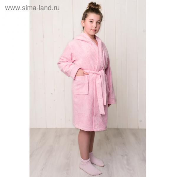 Халат махровый для девочки капюшон+кант, цв. розовый, рост 122, хл100%