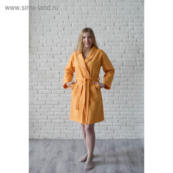 Халат женский, шалька+кант, размер 52, песочный, вафля