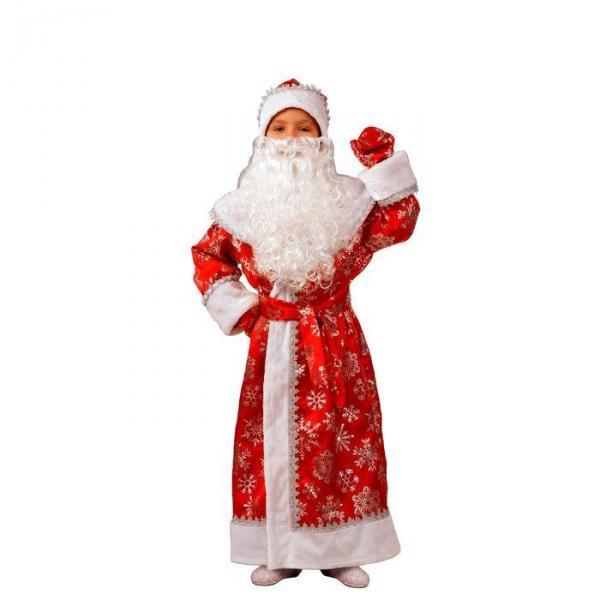 Карнавальный костюм Дед Мороз красный сатин детский