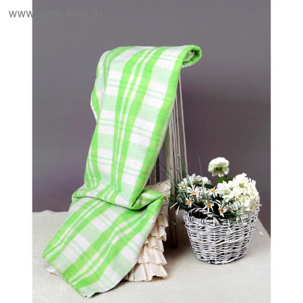 Одеяло байковое, 420 г/м2, 140х205 клетка Мадрид салатовый, 80% хлопок, 20% лавсан