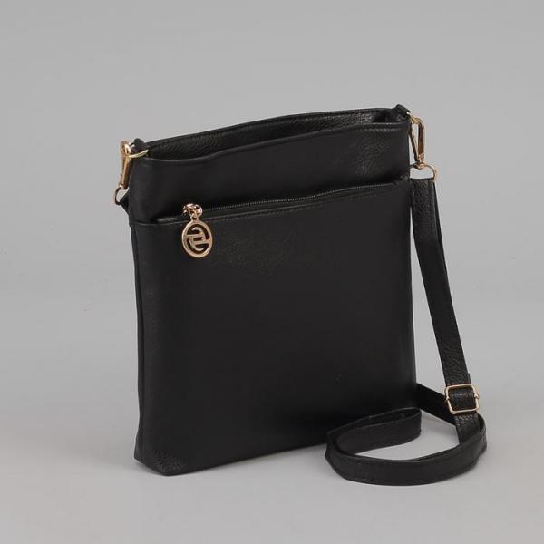 Сумка женская на молнии, 1 отдел, 2 наружных кармана, регулируемый ремень, цвет чёрный