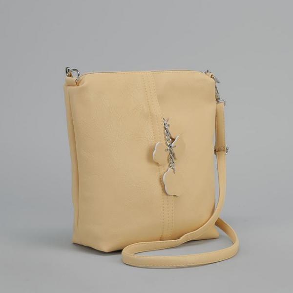 Сумка женская, 2 отдела на молнии, наружный карман, регулируемый ремень, цвет бежевый