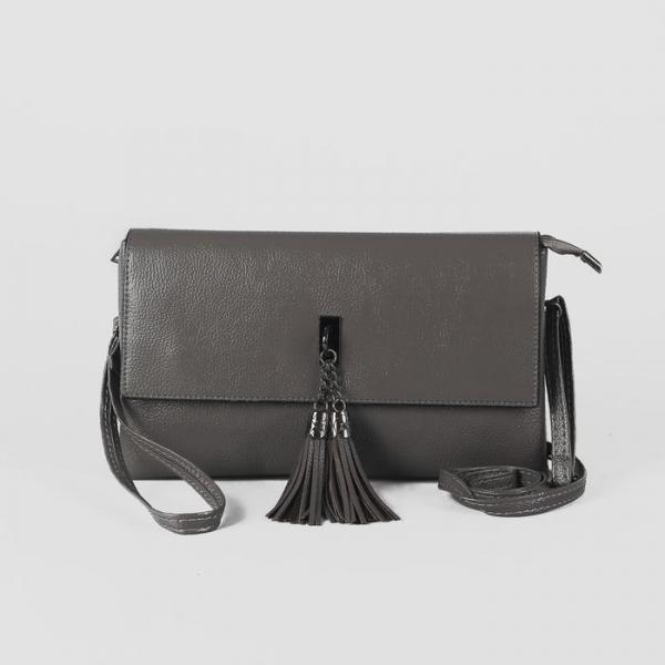 Клатч женский на молнии, 3 отдела, наружный карман, с ручкой, длинный ремень, цвет серый