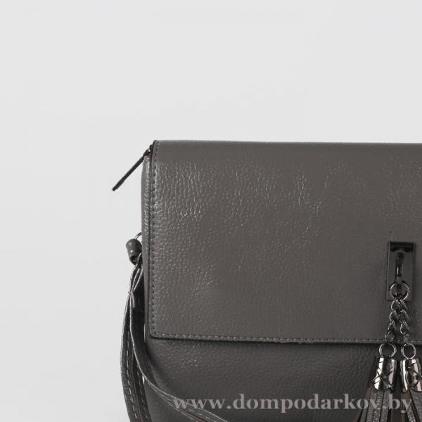 Фото ПОСМОТРЕТЬ ВЕСЬ КАТАЛОГ, Галантерея, Сумки женские  Клатч женский на молнии, 3 отдела, наружный карман, с ручкой, длинный ремень, цвет серый