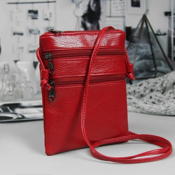 Сумка женская, отдел на молнии, 2 наружных кармана, длинный ремень, цвет красный