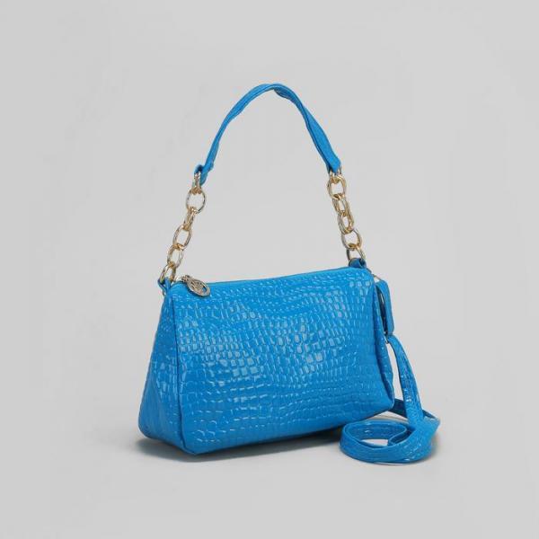 Сумка женская на молнии, 1 отдел, 1 наружный карман, длинный ремень, цвет синий